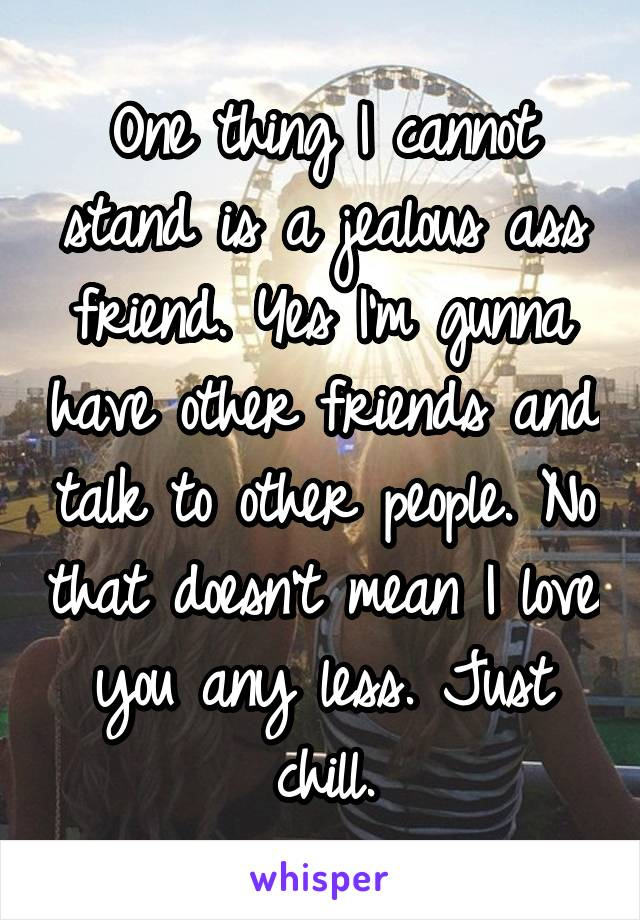 One thing I cannot stand is a jealous ass friend. Yes I'm gunna have other friends and talk to other people. No that doesn't mean I love you any less. Just chill.