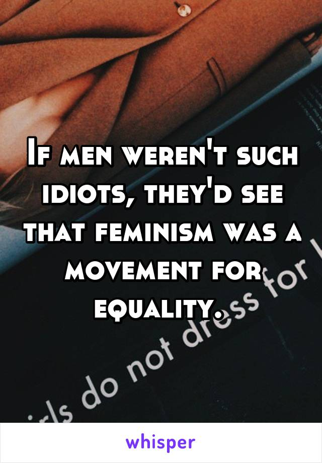 If men weren't such idiots, they'd see that feminism was a movement for equality.