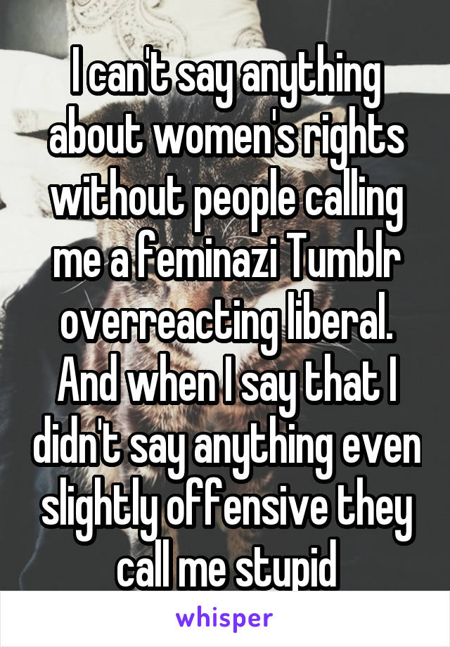 I can't say anything about women's rights without people calling me a feminazi Tumblr overreacting liberal. And when I say that I didn't say anything even slightly offensive they call me stupid