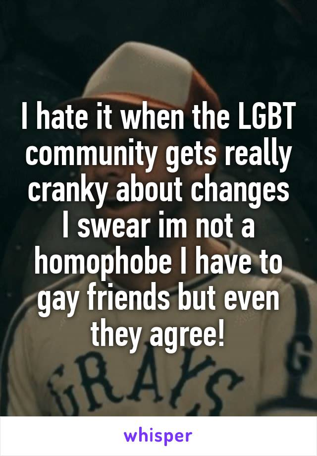 I hate it when the LGBT community gets really cranky about changes I swear im not a homophobe I have to gay friends but even they agree!