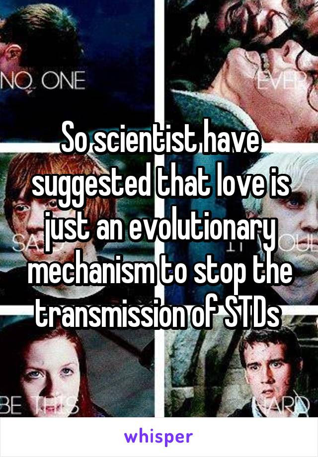 So scientist have suggested that love is just an evolutionary mechanism to stop the transmission of STDs