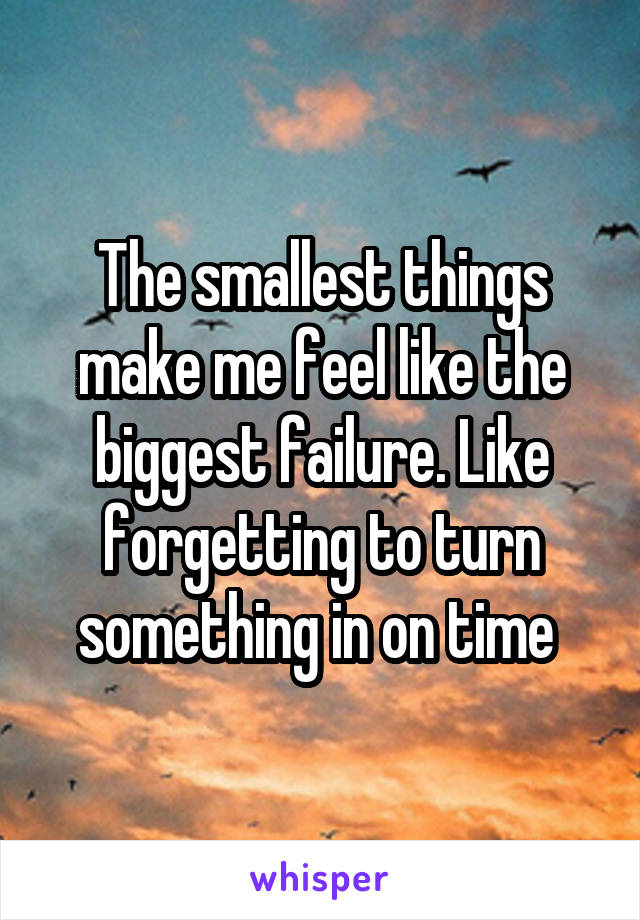The smallest things make me feel like the biggest failure. Like forgetting to turn something in on time