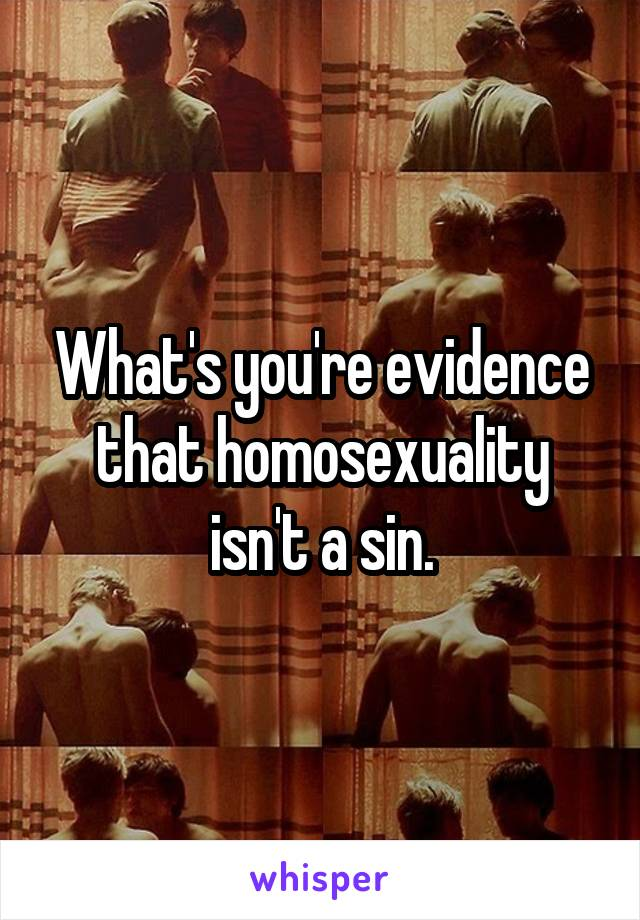 What's you're evidence that homosexuality isn't a sin.