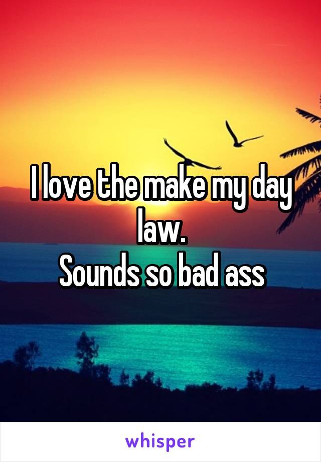 I love the make my day law. Sounds so bad ass