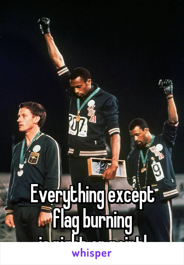 Everything except flag burning is right on point!
