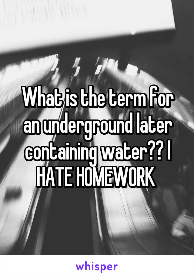 What is the term for an underground later containing water?? I HATE HOMEWORK