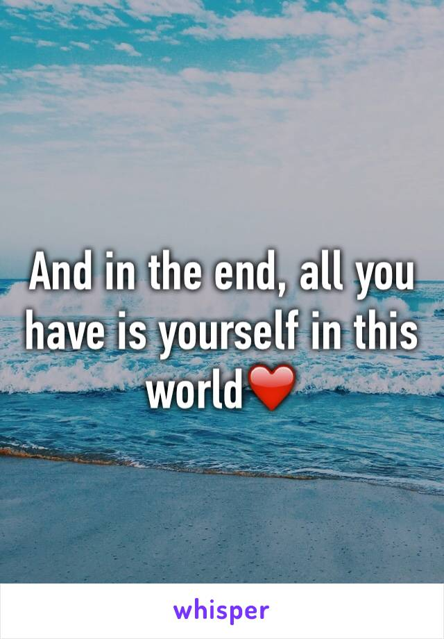 And in the end, all you have is yourself in this world❤️