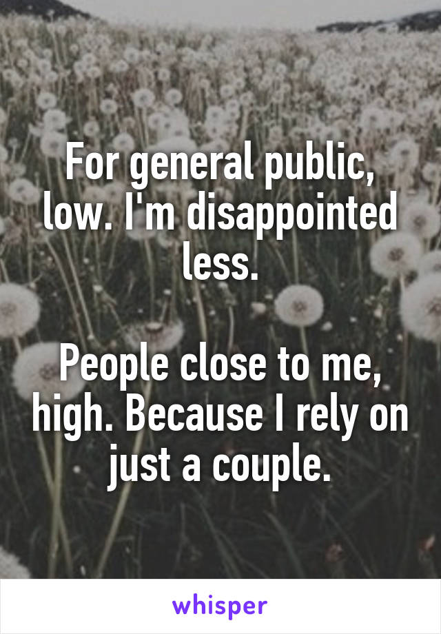 For general public, low. I'm disappointed less.  People close to me, high. Because I rely on just a couple.