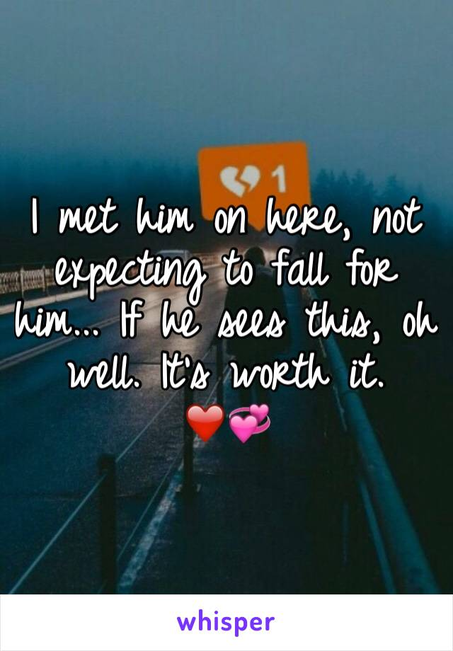 I met him on here, not expecting to fall for him... If he sees this, oh well. It's worth it. ❤️💞