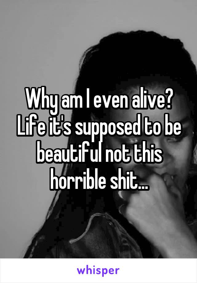 Why am I even alive? Life it's supposed to be beautiful not this horrible shit...