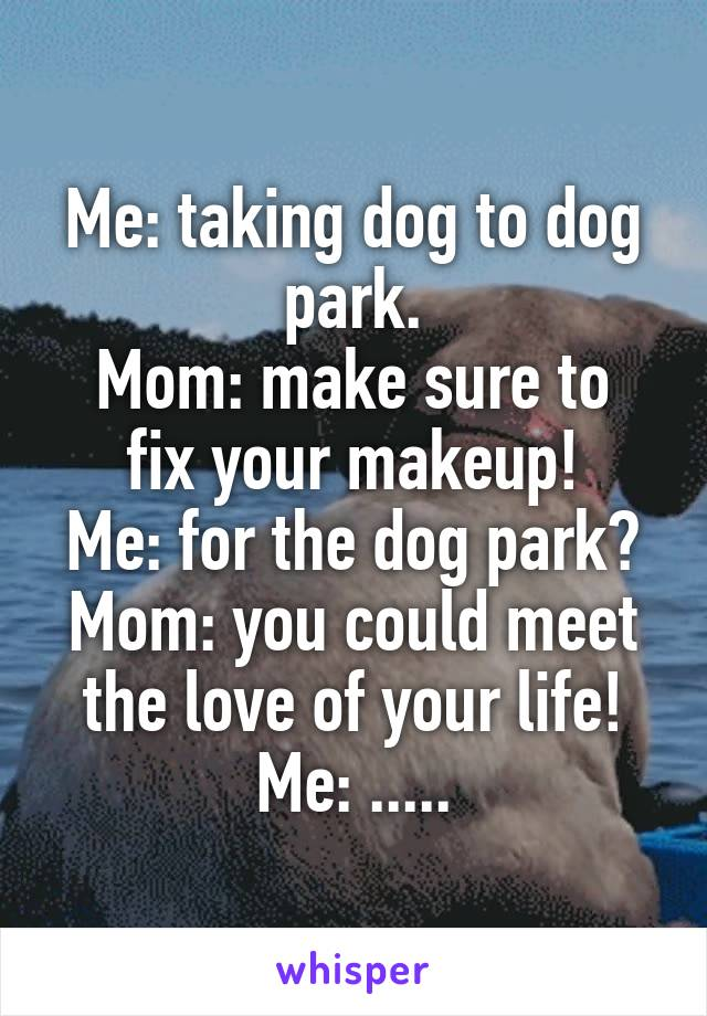 Me: taking dog to dog park. Mom: make sure to fix your makeup! Me: for the dog park? Mom: you could meet the love of your life! Me: .....