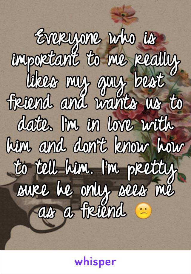 Everyone who is important to me really likes my guy best friend and wants us to date. I'm in love with him and don't know how to tell him. I'm pretty sure he only sees me as a friend 😕