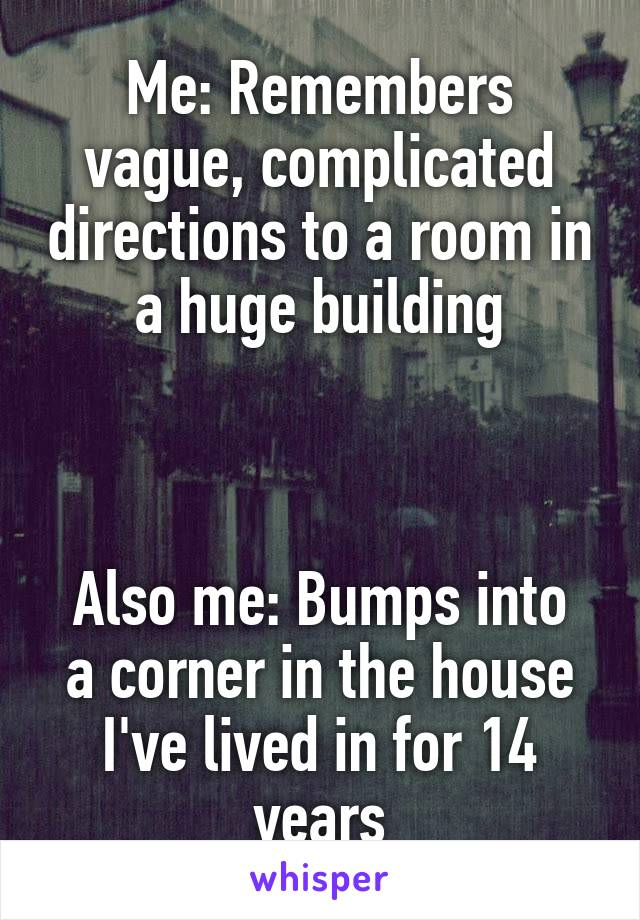 Me: Remembers vague, complicated directions to a room in a huge building    Also me: Bumps into a corner in the house I've lived in for 14 years