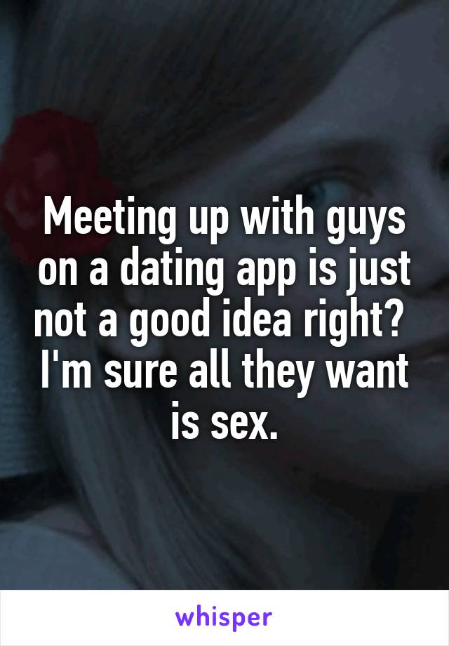 Meeting up with guys on a dating app is just not a good idea right?  I'm sure all they want is sex.