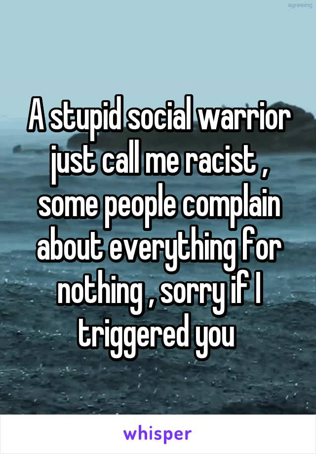 A stupid social warrior just call me racist , some people complain about everything for nothing , sorry if I triggered you