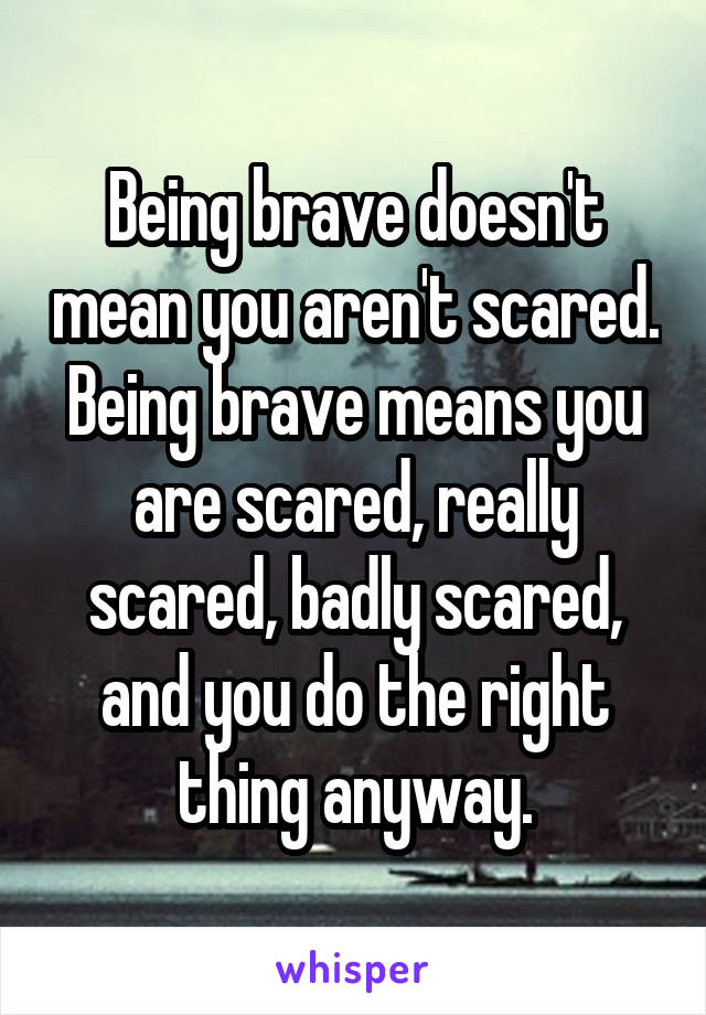Being brave doesn't mean you aren't scared. Being brave means you are scared, really scared, badly scared, and you do the right thing anyway.