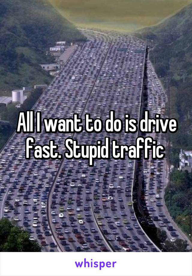 All I want to do is drive fast. Stupid traffic