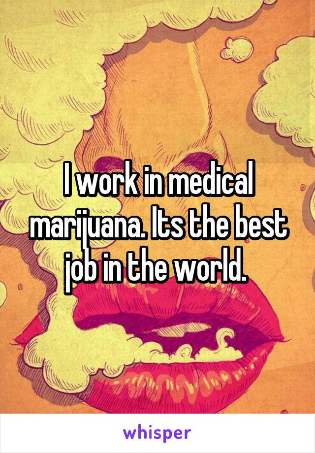 I work in medical marijuana. Its the best job in the world.