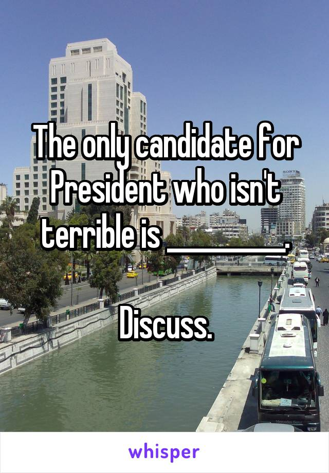 The only candidate for President who isn't terrible is __________.  Discuss.