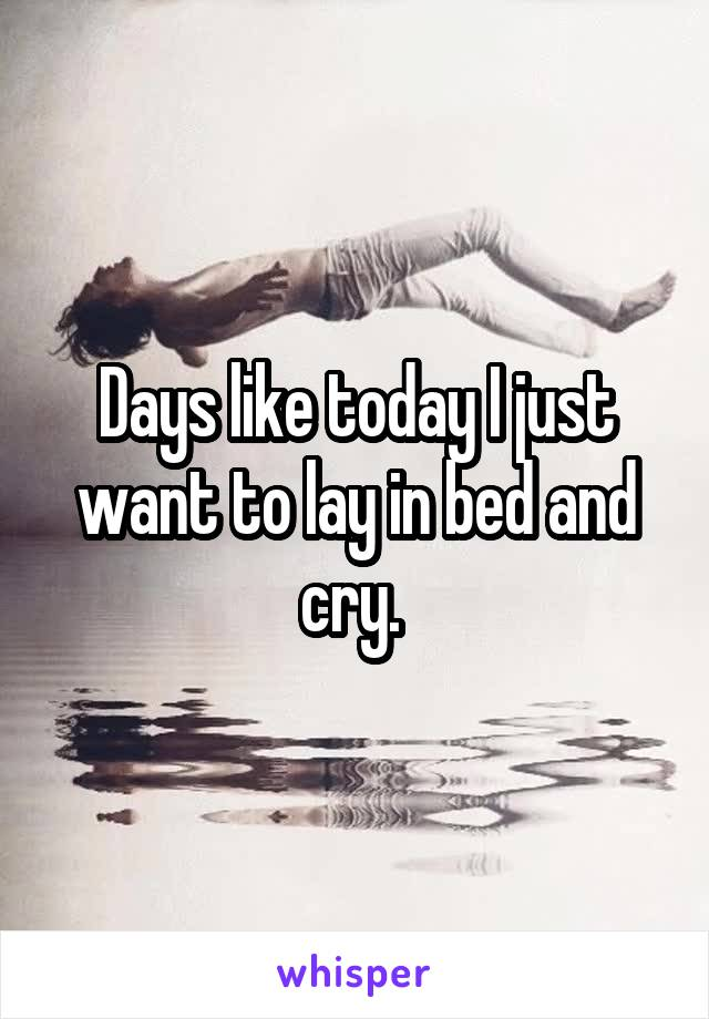 Days like today I just want to lay in bed and cry.
