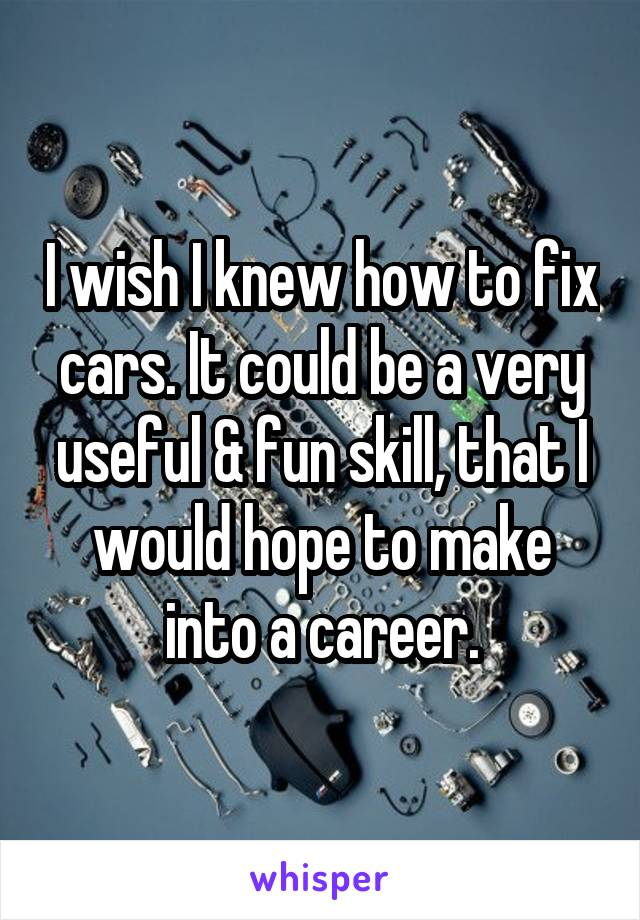 I wish I knew how to fix cars. It could be a very useful & fun skill, that I would hope to make into a career.