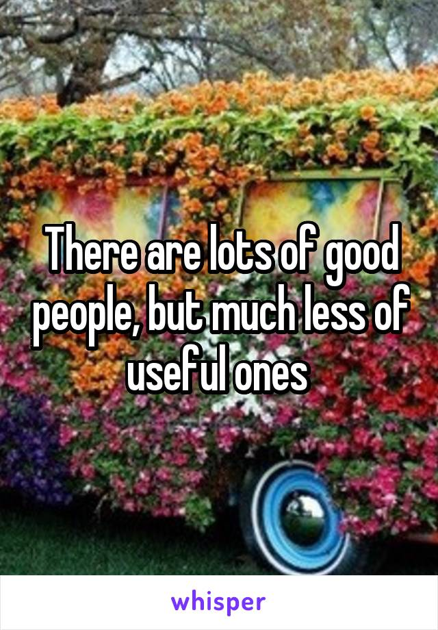 There are lots of good people, but much less of useful ones