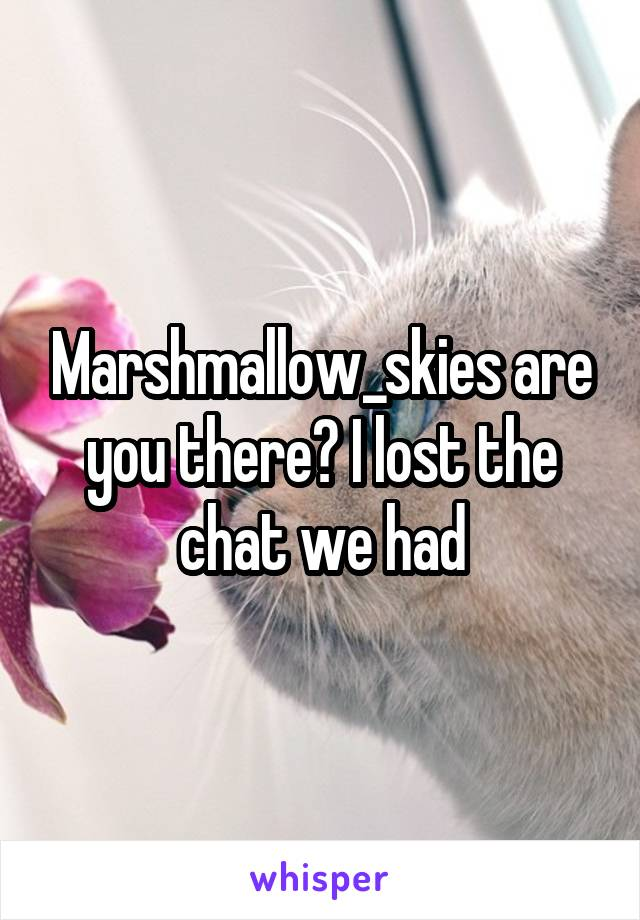 Marshmallow_skies are you there? I lost the chat we had