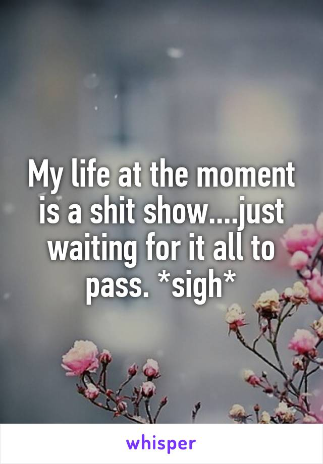 My life at the moment is a shit show....just waiting for it all to pass. *sigh*