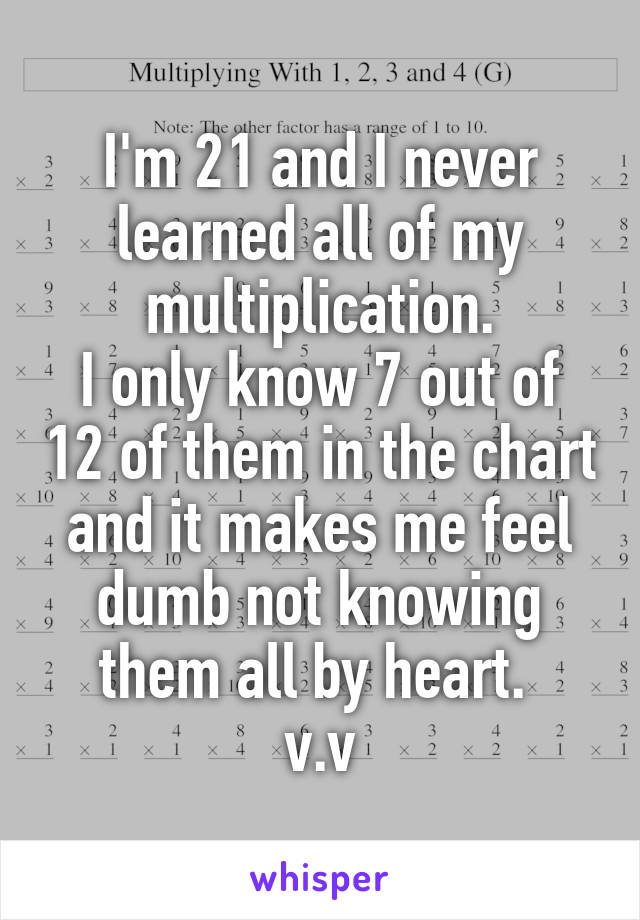 I'm 21 and I never learned all of my multiplication. I only know 7 out of 12 of them in the chart and it makes me feel dumb not knowing them all by heart.  v.v