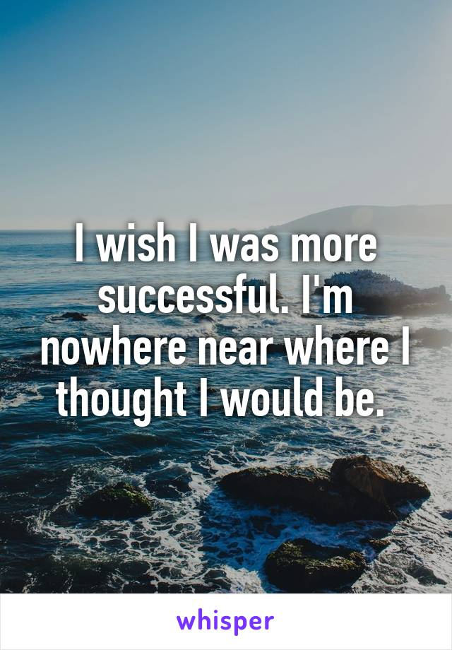 I wish I was more successful. I'm nowhere near where I thought I would be.