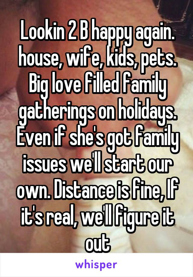 Lookin 2 B happy again. house, wife, kids, pets. Big love filled family gatherings on holidays. Even if she's got family issues we'll start our own. Distance is fine, If it's real, we'll figure it out