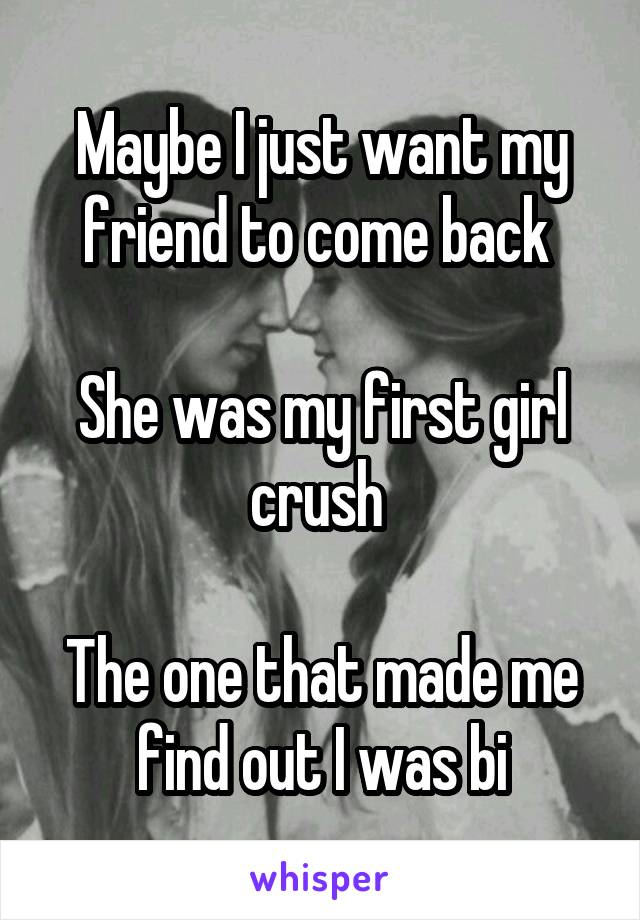 Maybe I just want my friend to come back   She was my first girl crush   The one that made me find out I was bi