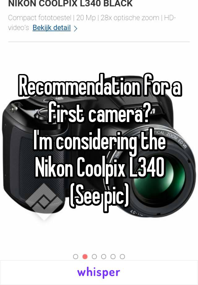Recommendation for a first camera? I'm considering the Nikon Coolpix L340 (See pic)