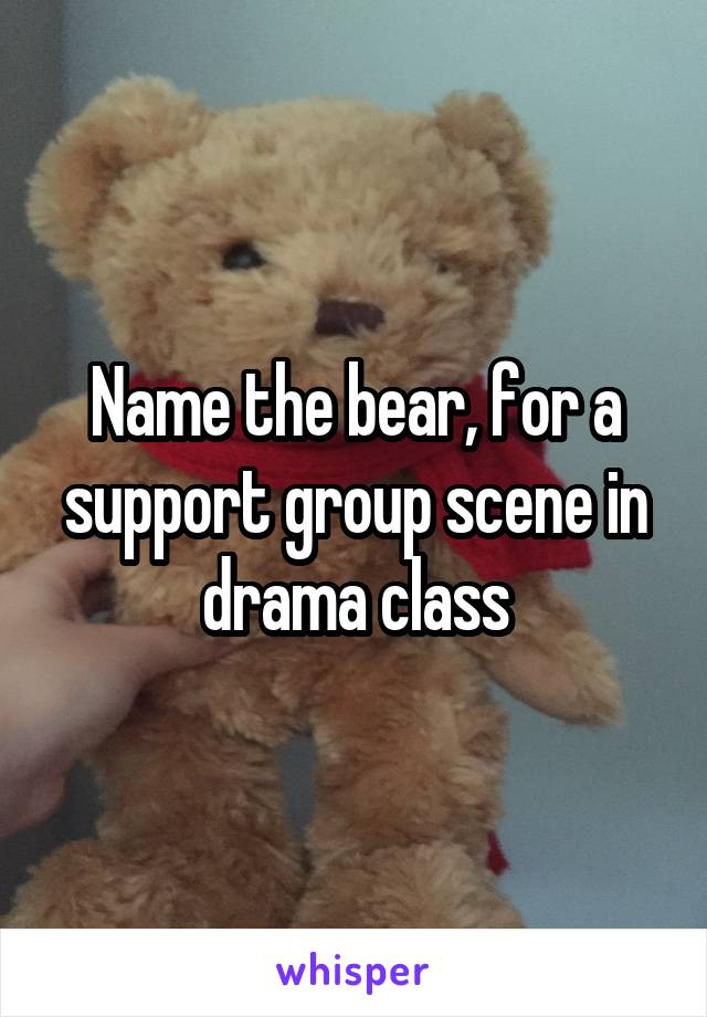 Name the bear, for a support group scene in drama class
