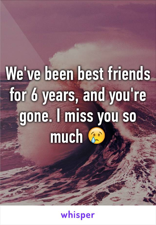We've been best friends for 6 years, and you're gone. I miss you so much 😢