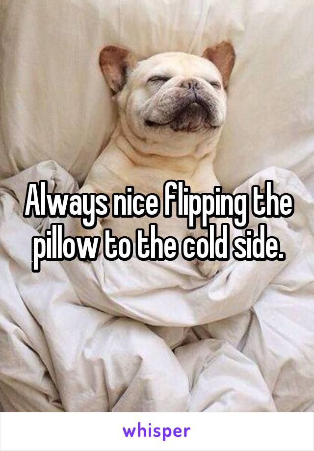 Always nice flipping the pillow to the cold side.