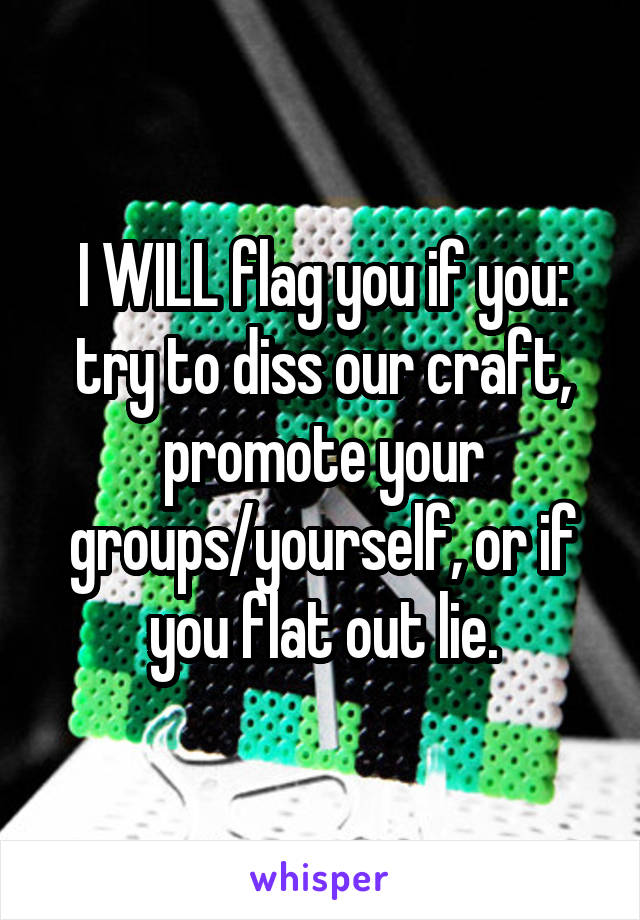 I WILL flag you if you: try to diss our craft, promote your groups/yourself, or if you flat out lie.