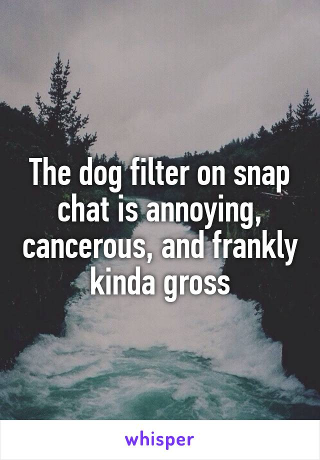 The dog filter on snap chat is annoying, cancerous, and frankly kinda gross