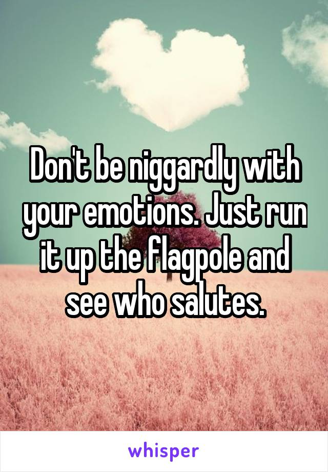 Don't be niggardly with your emotions. Just run it up the flagpole and see who salutes.