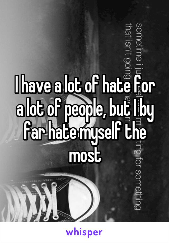 I have a lot of hate for a lot of people, but I by far hate myself the most