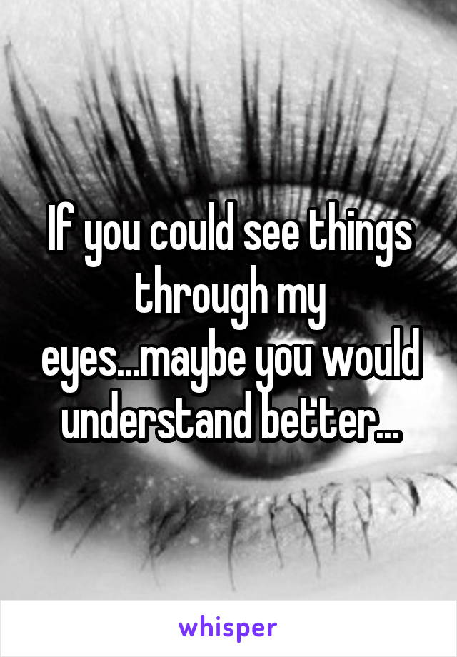 If you could see things through my eyes...maybe you would understand better...