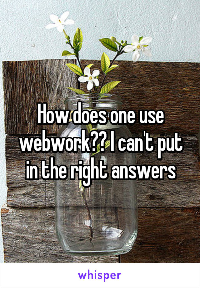 How does one use webwork?? I can't put in the right answers