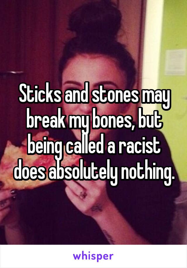 Sticks and stones may break my bones, but being called a racist does absolutely nothing.