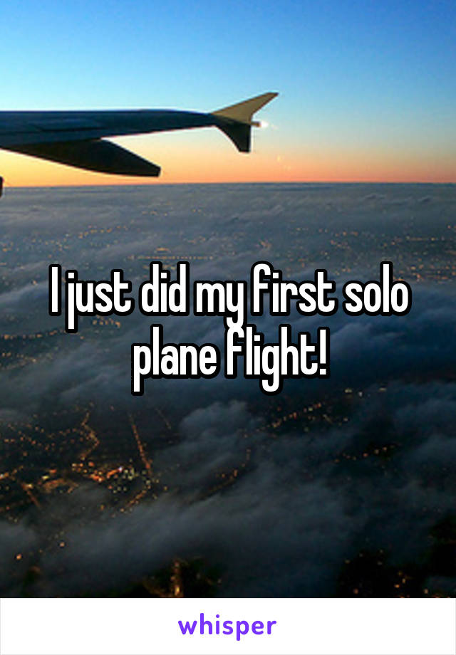 I just did my first solo plane flight!