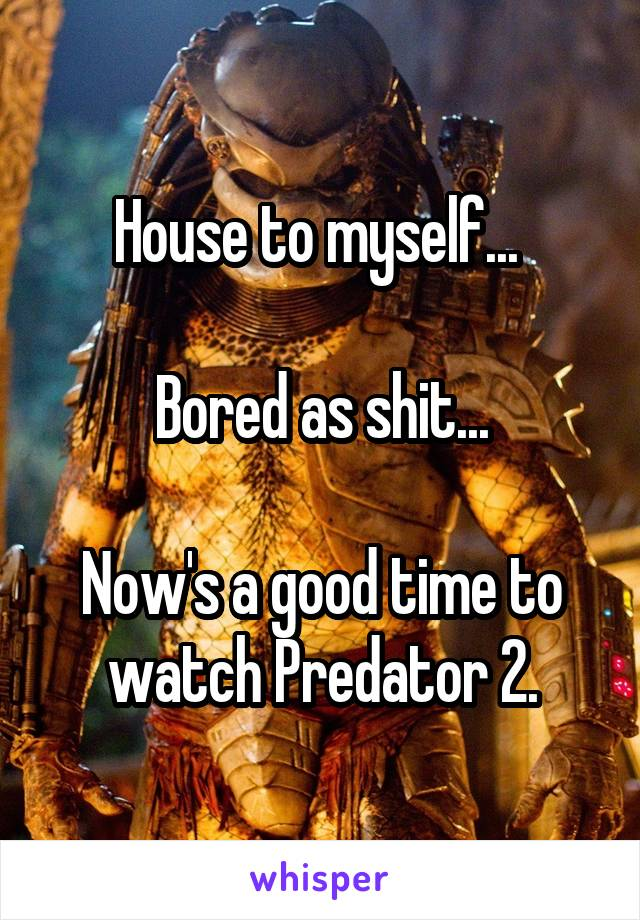House to myself...   Bored as shit...  Now's a good time to watch Predator 2.