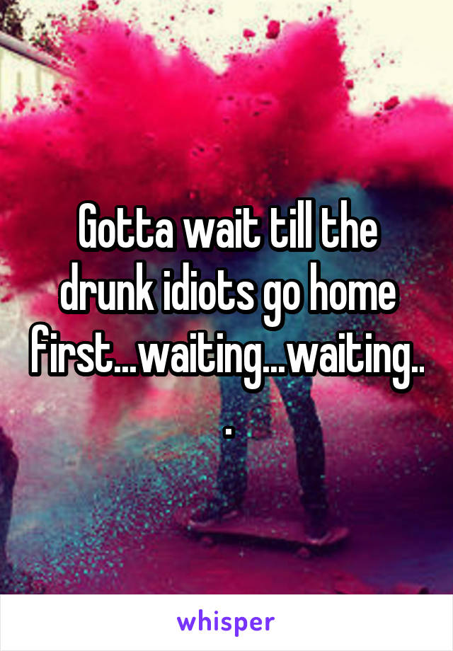 Gotta wait till the drunk idiots go home first...waiting...waiting...