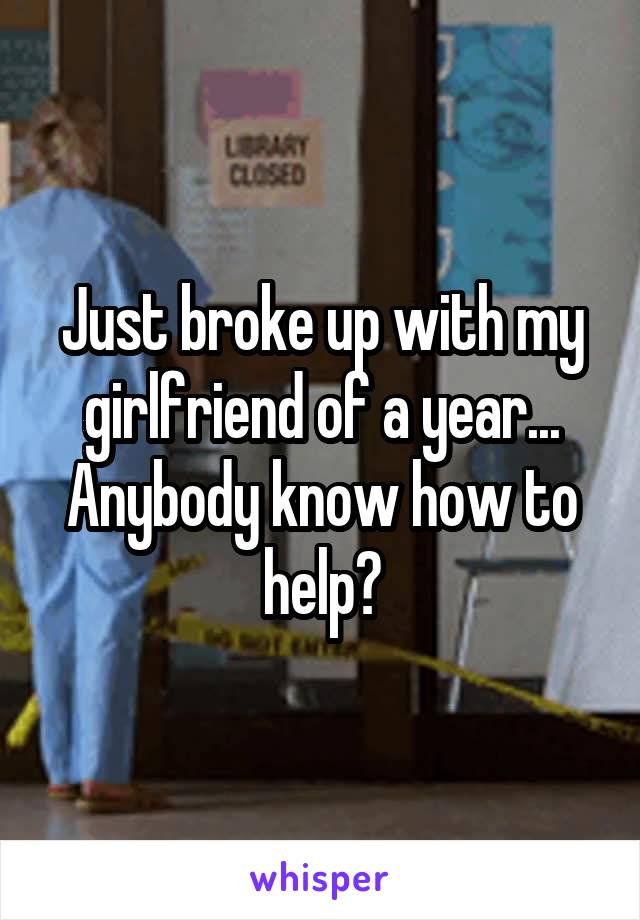 Just broke up with my girlfriend of a year... Anybody know how to help?