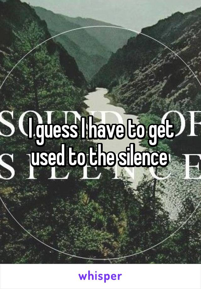 I guess I have to get used to the silence