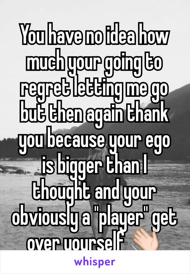 "You have no idea how much your going to regret letting me go but then again thank you because your ego is bigger than I thought and your obviously a ""player"" get over yourself 👋"