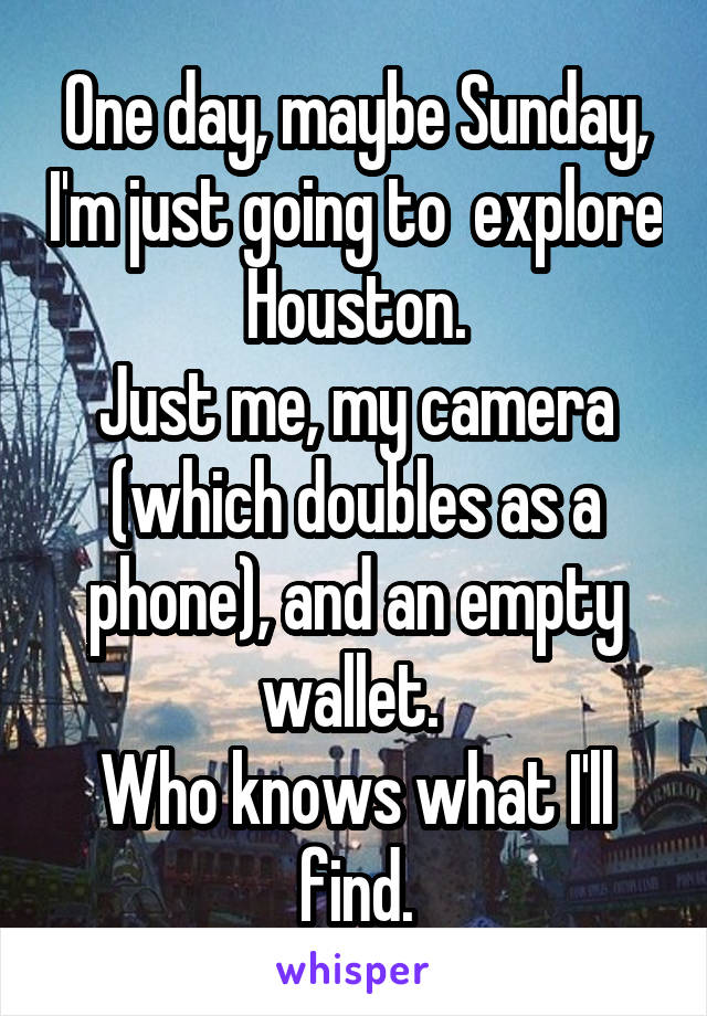 One day, maybe Sunday, I'm just going to  explore Houston. Just me, my camera (which doubles as a phone), and an empty wallet.  Who knows what I'll find.